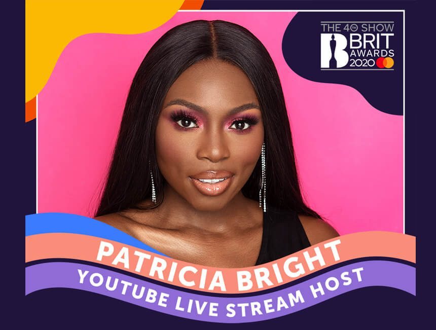 Patricia Bright hosts the YouTube live-stream for the 40th BRIT Awards