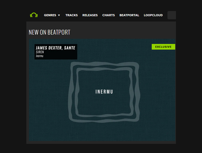 Inermu Records featured on Beatport's homepage