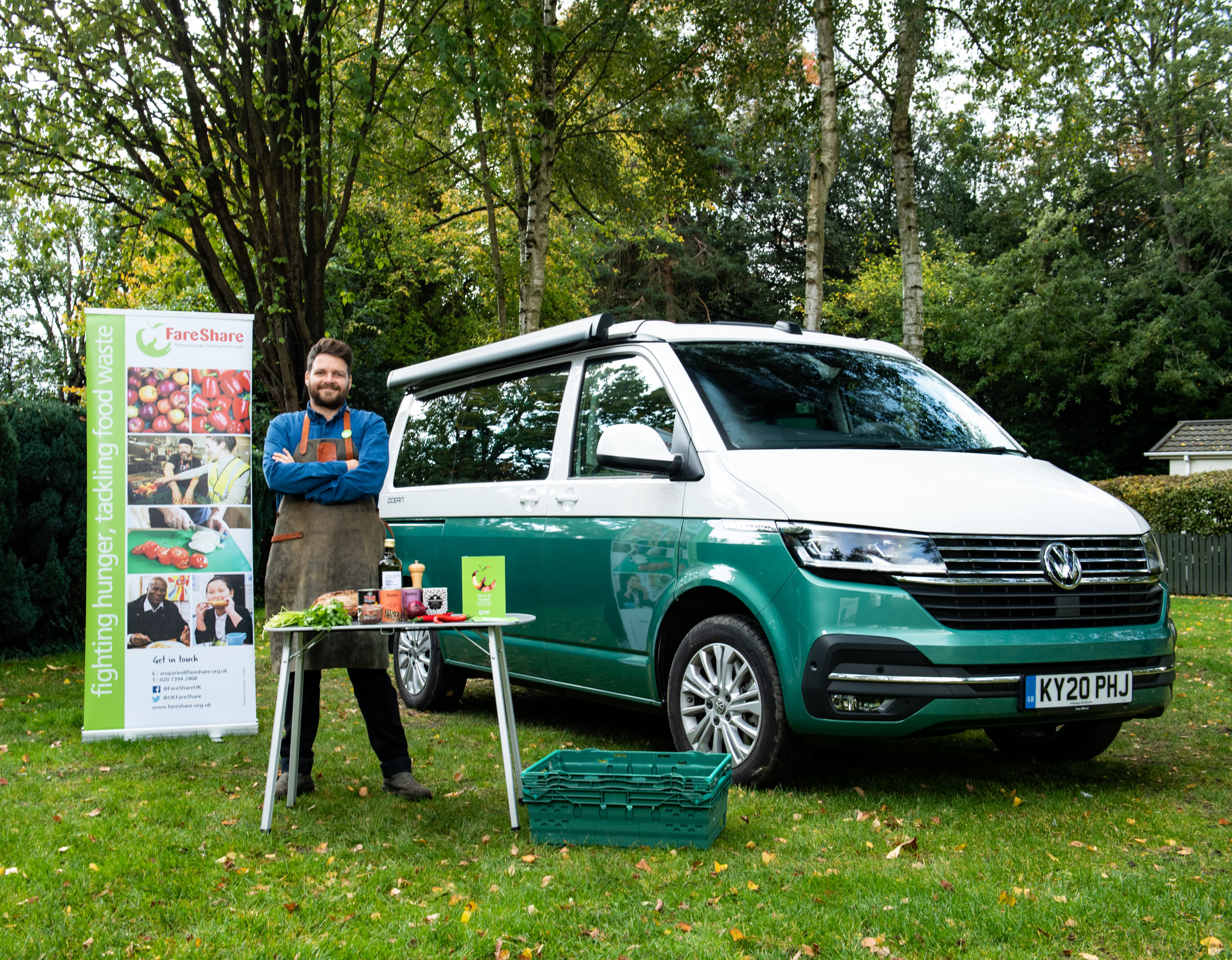 Tom Hunt partners with Volkswagen and FareShare to cook up zero-waste recipes in the back of a van